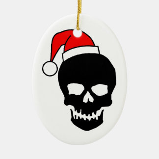 Christmas Skull Ceramic Ornament