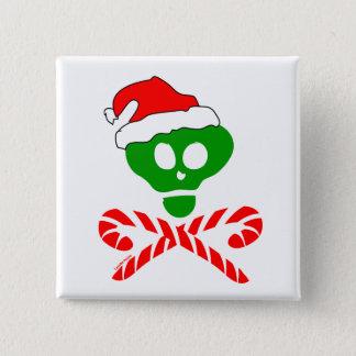Christmas Skull Crossbones 2 Inch Square Button