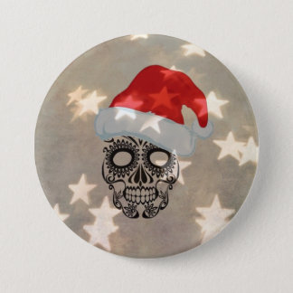 Christmas skull with star bokeh 3 inch round button