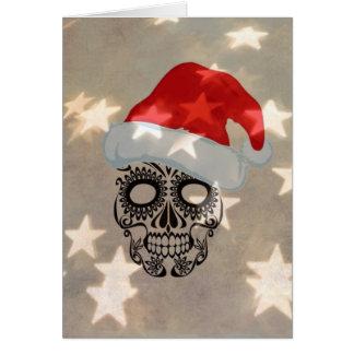 Christmas skull with star bokeh card