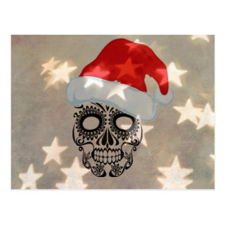 Christmas skull with star bokeh postcard