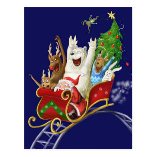 Christmas sledge funny digital drawing santa claus postcard
