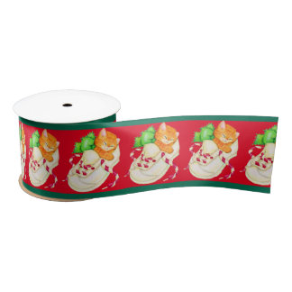 Christmas sleepy kitten cat ribbon satin ribbon