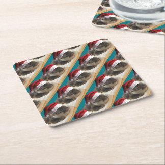 Christmas Sleepy Otter Square Paper Coaster
