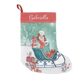 Christmas Sleigh Shopping Girl   Cristmas Stocking Small Christmas Stocking