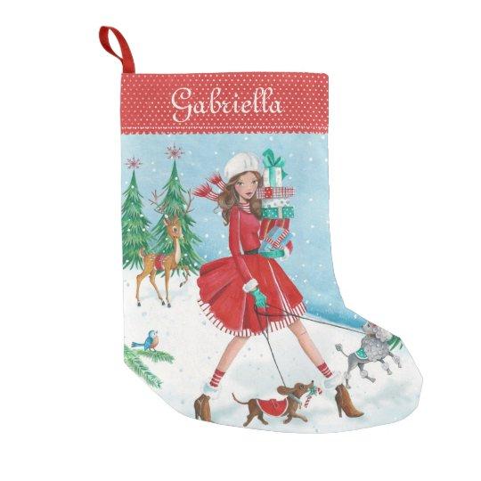 Christmas Sleigh Shopping Girl | Cristmas Stocking Small Christmas Stocking