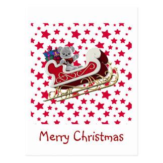 Christmas Sleigh Teddy Postcard