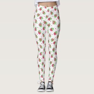 Christmas small cupcakes design in Christmas color Leggings
