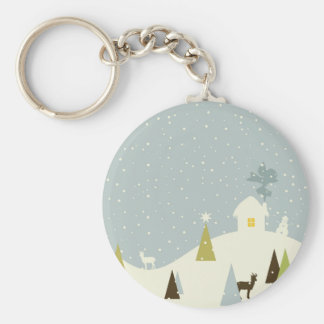Christmas small house basic round button keychain