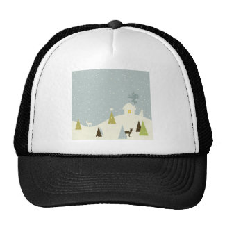 Christmas small house trucker hat
