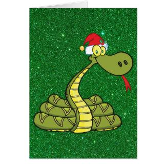 christmas snake in santa hat card