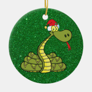 christmas snake in santa hat ceramic ornament