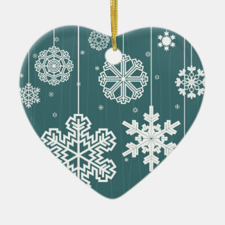 Christmas snow ceramic ornament