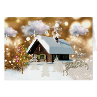 Christmas Snow Cottage Golden Bokeh Card