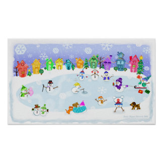 Christmas Snow Day Art Poster Print