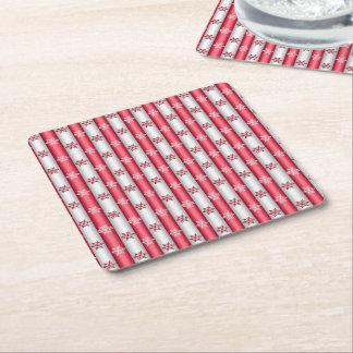 Christmas Snow Flakes Square Paper Coaster