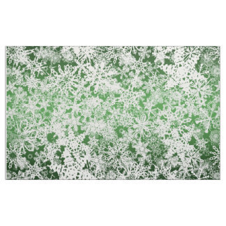 Christmas Snow Flurries Green Fabric