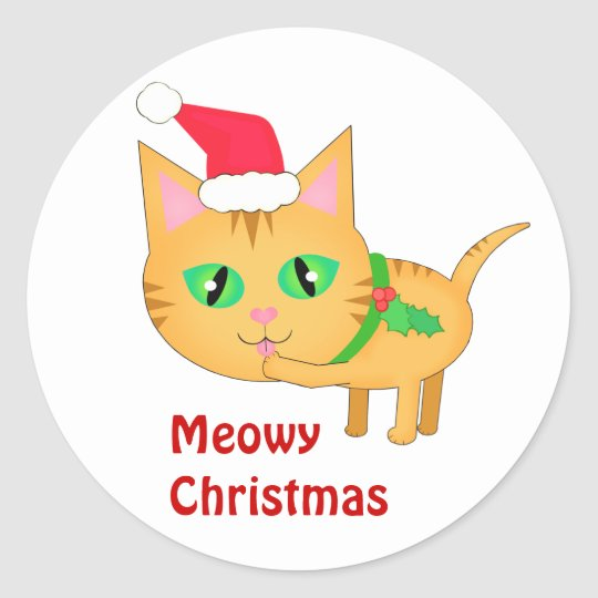 Christmas Snow Girls With Cat Stickers