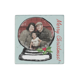 Christmas Snow Globe Photo Stone Magnets