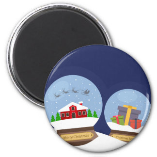 Christmas Snow Globes and Santa Claus Present 2 Inch Round Magnet