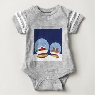 Christmas Snow Globes and Santa Claus Present Baby Bodysuit