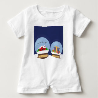 Christmas Snow Globes and Santa Claus Present Baby Romper