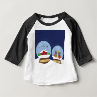 Christmas Snow Globes and Santa Claus Present Baby T-Shirt