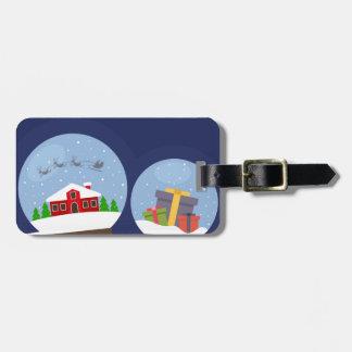 Christmas Snow Globes and Santa Claus Present Bag Tag
