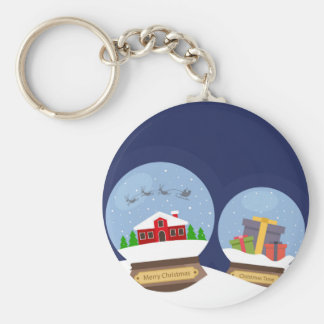 Christmas Snow Globes and Santa Claus Present Basic Round Button Keychain