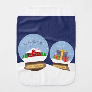 Christmas Snow Globes and Santa Claus Present Burp Cloth
