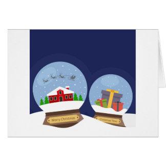 Christmas Snow Globes and Santa Claus Present Card