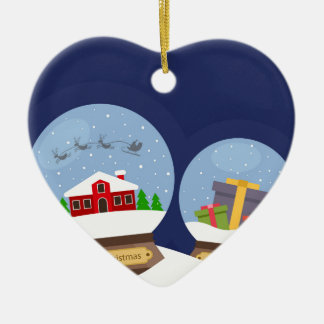 Christmas Snow Globes and Santa Claus Present Ceramic Heart Ornament