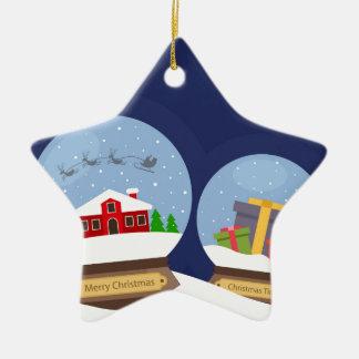 Christmas Snow Globes and Santa Claus Present Ceramic Star Ornament