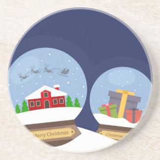 Christmas Snow Globes and Santa Claus Present Coaster