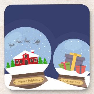 Christmas Snow Globes and Santa Claus Present Coasters