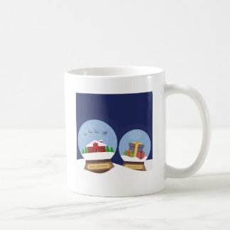 Christmas Snow Globes and Santa Claus Present Coffee Mug
