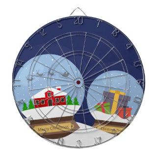 Christmas Snow Globes and Santa Claus Present Dart Board