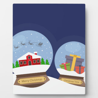 Christmas Snow Globes and Santa Claus Present Display Plaques