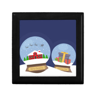 Christmas Snow Globes and Santa Claus Present Gift Box