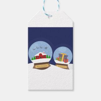 Christmas Snow Globes and Santa Claus Present Gift Tags