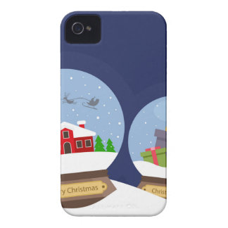 Christmas Snow Globes and Santa Claus Present iPhone 4 Case-Mate Case
