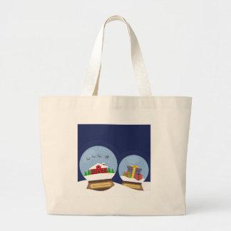 Christmas Snow Globes and Santa Claus Present Large Tote Bag