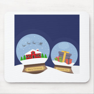 Christmas Snow Globes and Santa Claus Present Mouse Pad