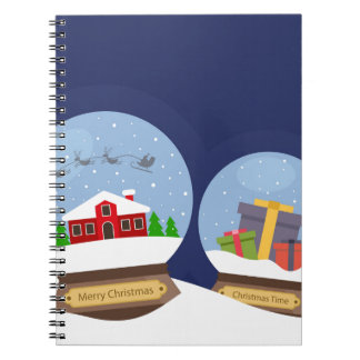 Christmas Snow Globes and Santa Claus Present Notebooks