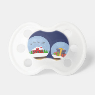 Christmas Snow Globes and Santa Claus Present Pacifier