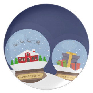 Christmas Snow Globes and Santa Claus Present Party Plate