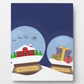 Christmas Snow Globes and Santa Claus Present Plaque
