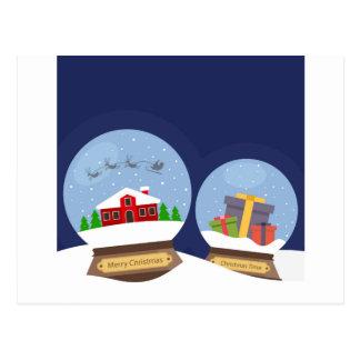 Christmas Snow Globes and Santa Claus Present Postcard