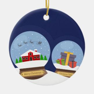 Christmas Snow Globes and Santa Claus Present Round Ceramic Ornament