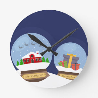 Christmas Snow Globes and Santa Claus Present Round Clock
